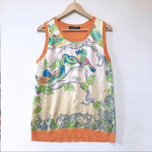 MAGASCHONI Womens Silk Cashmere Top L Bird